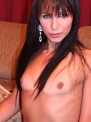 Brunette Brazilian shemale shows off her slim frame, spankable ass, and thick cock
