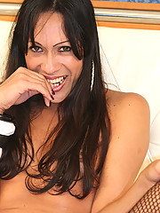 Nanda is a beautiful brazilian t-girl who wants a guy who can suck her dick and tear off her fishnet stockings with her teeth!