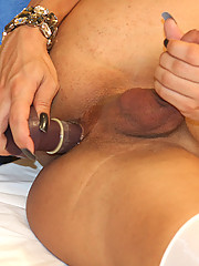 Ariella Vendramini is an extremely horny tranny. She can be erect and ready to fuck by just rubbing the head of her cock with her hand.
