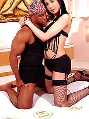 20 year old Tgirl gets it on with a muscular black stud