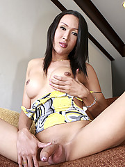 This delicious ladyboy Apple is busty and tight. She loves shoving her fingers up her tiny asshole, trying to stretch it out for a giant cock to plunge into it.