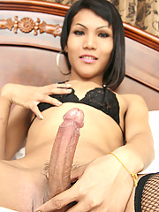 Tiny ladyboy with a large cock