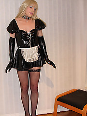 Candi Love Doll dressed as a slutty Tgirl maid