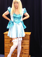 Candi dressed as Alice in Wonderland and looking cute