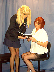 Crossdressing school mistress spanks Candis sweet ass