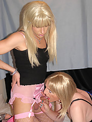 Candi gets her hard cock sucked by slutty crossdresser