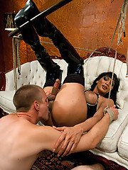 Beautiful TS Yasmin Lee dominating a man in a hot BDSM scene with orgasm denial, rope bondage, deep throat cock fucking and facials.