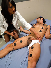 Ts Yasmin Lee in a smoking fetish medical role play with a hot guy. She uses electricity, a fake pussy n her thick dick to cure him by fucking his ass