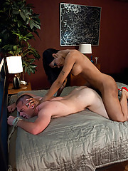 Ts Sexy Jade face and ass fucks a straight white guy until he cums THREE times. She shoves her luscious booty his face and drops her load in his mouth