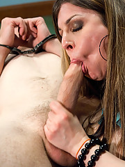 Ts Girl seduces a security guard, uses his own handcuffs to restrain him and then fucks his face and ass while the surveillance camera records it.