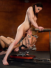 TS Barbarella fucks bound guy - tickles him, milks huge load from his hard cock, uses a machine to make him suck her cock, she cums loads on his face.