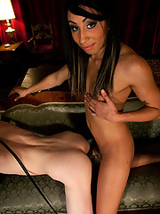 Black Ts with THICK 8 inch dick plows white guys ass, balls deep, milking, jerking his cock until he cums. She strokes her member over his face, cums.