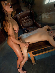 Famous TS Yasmin Lee, nails the virgin ass of factory worker, making him suck her perfect cock, and watch her cum.