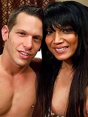 Ts thai babe, Yasmin Lee, makes a straight guy suck her cock. She fucks him ruthlessly on the bed, making him cum from her pounding.