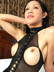 Lek is a kinky ladyboy who loves fetish wear. Her favorite outfit is the one she\