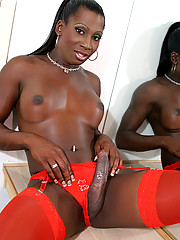 Kiki is a long and lean ebony tranny from San Diego. She has a perfectly toned body and loves showing off her curves (and that package neatly tucked under her lingerie)!