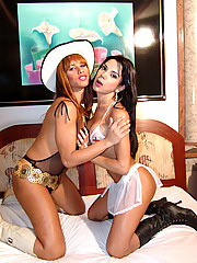 Two beautiful trannies have a sexy romp