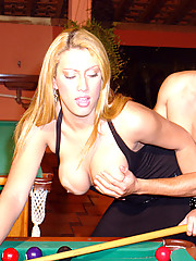 Patricia and her boy toy Davi get hot in a pool hall