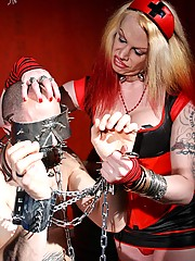Is that the guy from Hellraiser? Nah it is just Tempest?s latest bitch boy bound up, blindfolded, and gagged with some very serious equipment. No phony toys here. This stuff is all hardcore!
