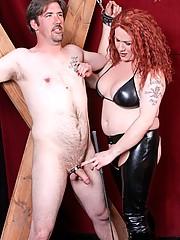 Mistress Danyella is new to the TranSexDomination dungeon . . . but she certainly is no newbie when it comes to controlling sub boys. She puts Jake through hell, nearly tearing off his nipples and then cinching his sack up in an extremely tight ball split