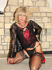 Gorgeous tgirl Kim shows off her stunning nylon covered legs
