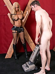 Mistress Michelle force feeds her slave hard cock before fucking him in a variety of positions!