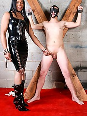 Mistress Gabrielle walks in on her restrained slave as he struggles with his bindings. She immediately puts a stop to this and lets him know he is here to pleasure her, to suck her cock, and for her to FUCK!