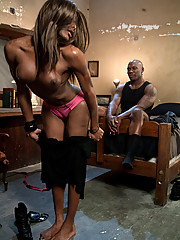 Hot black Ts woman ass fucks, strokes and blows hard black cock. She cums on his face.
