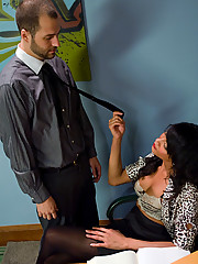 Great cock sucking leads to TS Yasmin Lee fucking her bound straight boy in the ass, then she gets fucked too.