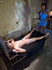 Ts Natassia reams her bound guy into submission with her cock.
