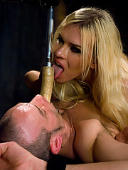 Ts Jesse ravages another cute boy as she fucks his face and ass.