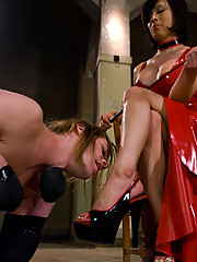 Sexy TS girl punishes bound male, ass fucks him, cock sucking