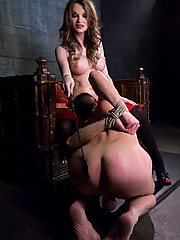 TS Kelly Shore fucks her man toy and beats his ass red