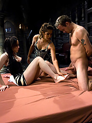 TS La Cherry Spice and Isis Love tag teem their little slut boy