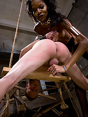 Mistress Soleli, fuckes her sissy bitch and cums in his face