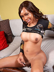 Big cock black shemale jade strokes her cock