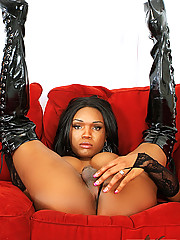 Black tgirl Barbie plays solo in black boots