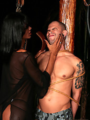Hot black shemale enforcing strict discipline on her man