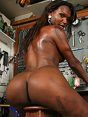Horny shemale gets naughty in the garage