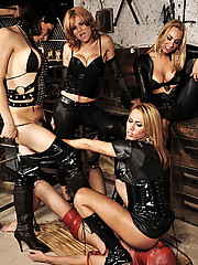Mask slave used and abused by four mistresses