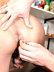 A crowded deli does not prevent this slim Tgirl from fucking the chef