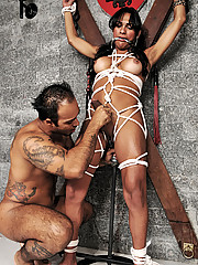 Big cock tranny Jo Garcia tied up and pushed to her limits