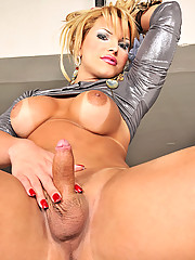 Blonde shemale strokes her cock off
