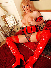 Alison Dale is a sexy red outfit