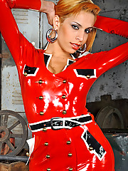 Samantha shows off in kinky red latex