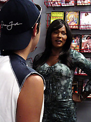 Exotic black tranny gets picked up at the video store