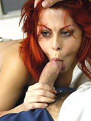 Fine tranny with red hair getting crazy sexy with some dude