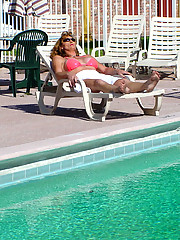 Older tranny picked up by the pool in bikini gets some cock