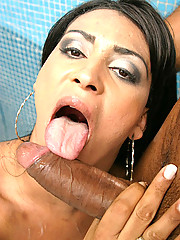 This sexy tranny gets a mouthfull here in these super hot poolside fuck pics