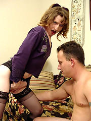 Older tranny in lingerie lures unsuspecting dude into her place